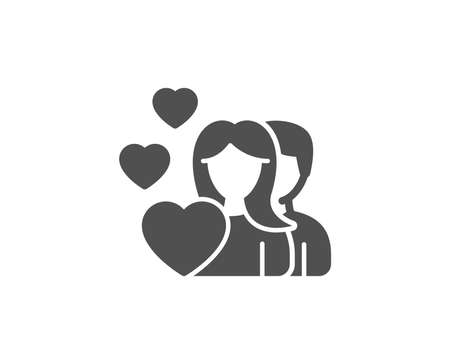 カップル愛シンプルなアイコン。人のグループが署名します。バレンタインデーのシンボル。品質設計要素。クラシックなスタイル。ベクトル