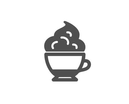 Cappuccino coffee with Whipped cream icon. Hot drink sign. Beverage symbol. Quality design elements. Classic style. Vector