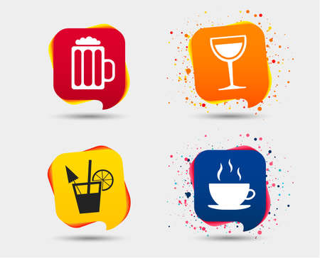 Drinks icons. Coffee cup and glass of beer symbols. Wine glass and cocktail signs. Speech bubbles or chat symbols. Colored elements. Vector