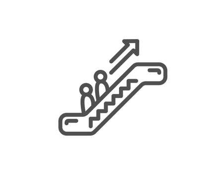 Escalator line icon. Elevator sign. Shopping stairway symbol. Quality design element. Editable stroke. Vector Illustration