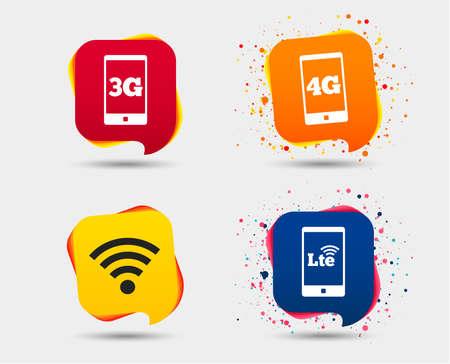 Icônes de télécommunications mobiles. Symboles des technologies 3G, 4G et LTE. Signes d'évolution Wi-Fi sans fil et à long terme. Bulles ou symboles de chat. Éléments colorés. Vecteur Vecteurs