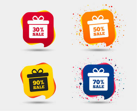 Sale gift box tag icons. Discount special offer symbols. 30%, 50%, 70% and 90% percent sale signs. Speech bubbles or chat symbols. Colored elements. Vector Illustration
