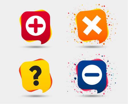 プラスアイコンとマイナスアイコン。削除し、FAQマーク記号を質問します。ズーム記号を拡大します。スピーチバブルまたはチャットシンボル。色