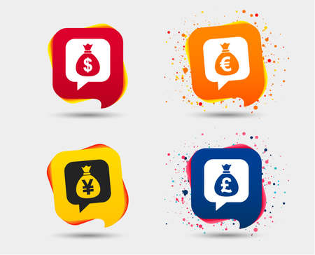 Money bag icons. Dollar, Euro, Pound and Yen speech bubbles symbols. USD, EUR, GBP and JPY currency signs. Speech bubbles or chat symbols. Colored elements. Vector
