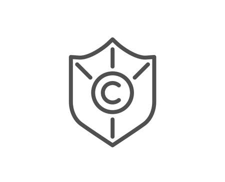 Сopyright protection line icon. Copywriting sign. Shield symbol. Quality design element. Editable stroke. Vector