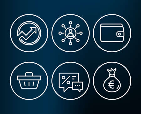 Set of Money wallet, Networking and Discounts icons. Audit, Shopping basket and Money bag signs. Payment method, Business communication, Best offer. Arrow graph, Sale offer, Euro currency. Vector