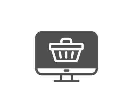 Online Shopping cart simple icon. Monitor sign. Supermarket basket symbol. Quality design elements. Classic style. Vector