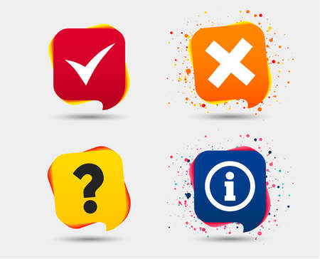 Information icons. Delete and question FAQ mark signs. Approved check mark symbol. Speech bubbles or chat symbols. Colored elements. Vector 写真素材 - 95335406