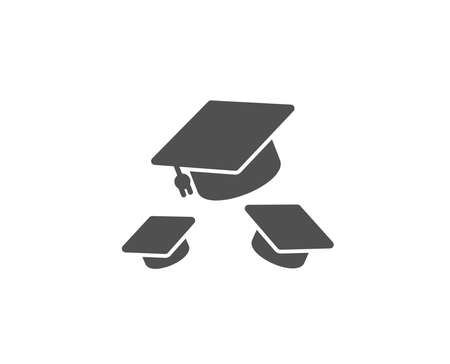 Graduation caps simple icon. Education sign. Student hat symbol. Quality design elements. Classic style. Vector 向量圖像