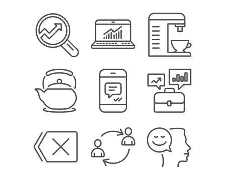 Set van bericht, online statistieken en pictogrammen bedrijfsportfolio. Gebruikerscommunicatie, koffiezetapparaat en tekens verwijderen. Analytics, theepot en goed humeur symbolen. Vector