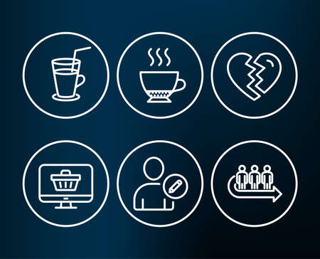 Set of Cocktail, Web shop and Edit user icons. Espresso, Break up and Queue signs. Fresh beverage, Shopping cart, Profile data. Hot drink, Divorce, People waiting.  Editable stroke. Vector