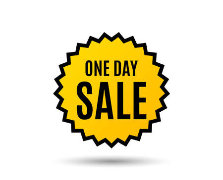 One day Sale. Special offer price sign. Advertising Discounts symbol. Star button. Graphic design element. Vector