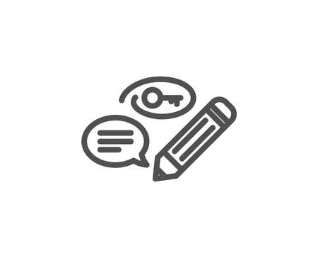 Keywords line icon. Pencil with key symbol. Marketing strategy sign. Quality design element. Editable stroke. Vector Çizim