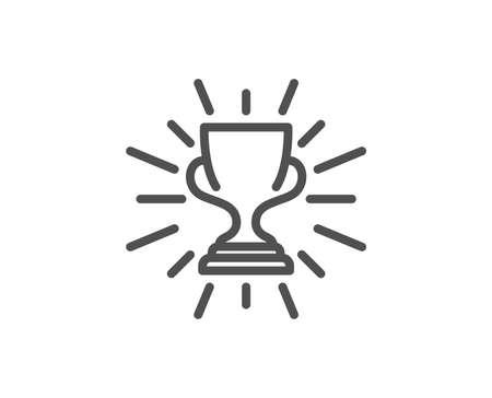 賞カップラインアイコン。勝者トロフィーシンボル。スポーツアチーブメントサイン。品質設計要素。編集可能なストローク。ベクトル  イラスト・ベクター素材