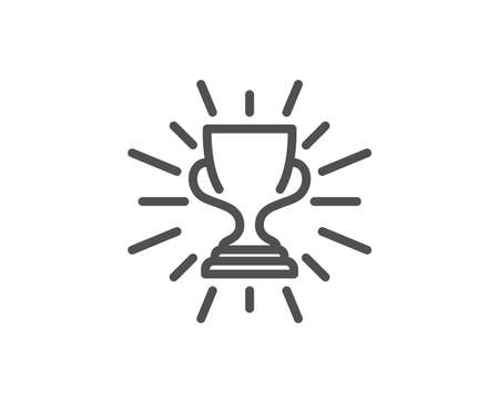 Award cup line icon. Winner Trophy symbol. Sports achievement sign. Quality design element. Editable stroke. Vector Çizim
