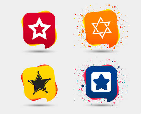 Star of David icons. Sheriff police sign. Symbol of Israel. Speech bubbles or chat symbols. Colored elements. Vector Illustration
