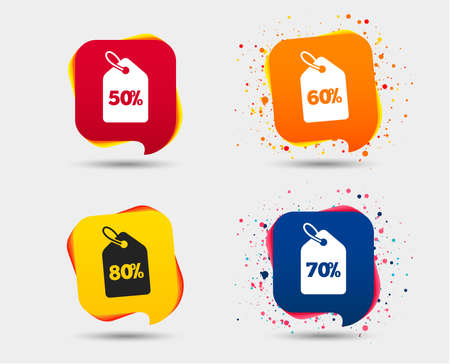 Sale price tag icons. Discount special offer symbols. 50%, 60%, 70% and 80% percent discount signs. Speech bubbles or chat symbols. Colored elements. Vector