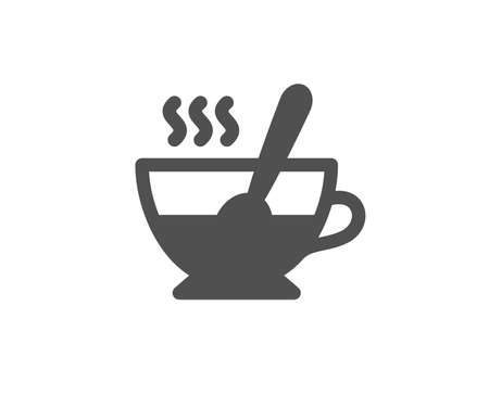 Cup with spoon simple icon. Fresh beverage sign. Latte or Coffee symbol. Quality design elements. Classic style. Vector Banco de Imagens - 95337380
