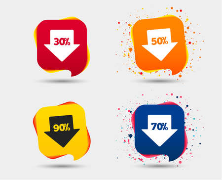 Sale arrow tag icons. Discount special offer symbols. 30%, 50%, 70% and 90% percent discount signs. Speech bubbles or chat symbols. Colored elements. Vector 向量圖像