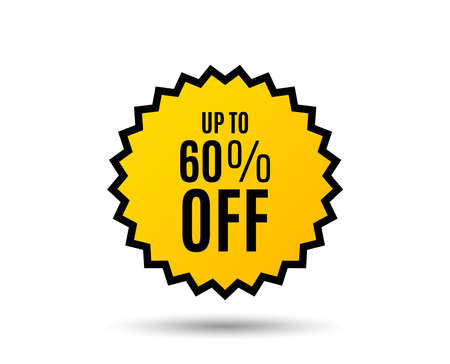 Up to 60% off Sale. Discount offer price sign. Special offer symbol. Save 60 percentages. Star button. Graphic design element. Vector