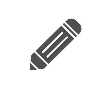 鉛筆のシンプルなアイコン。サインを編集します。図面または書き込み機器のシンボル。品質設計要素。クラシックなスタイル。ベクトル