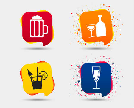 Set of alcohol drinks concept icons.