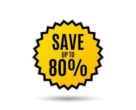 Save up to 80%. Discount Sale offer price sign. Special offer symbol. Star button. Graphic design element. Vector illustration. Illustration