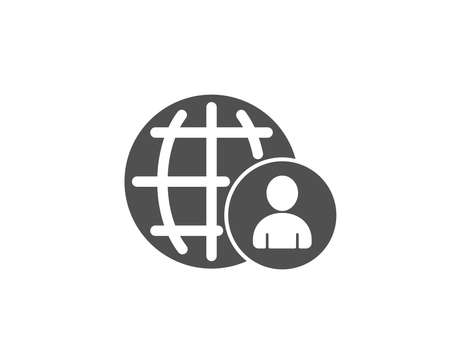 International business recruitment simple line icon, global human resources concept illustration.