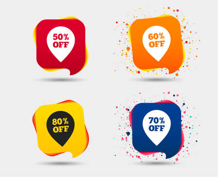 Sale pointer tag icons. Discount special offer symbols. 50%, 60%, 70% and 80% percent off signs. Speech bubbles or chat symbols. Colored elements. Vector illustration.