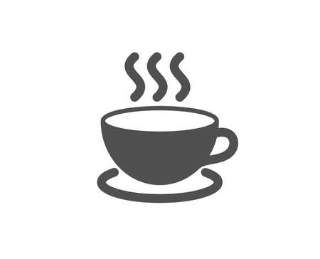 Hot coffee simple line icon.