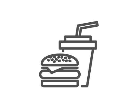 Hamburger with beverage drink line icon.