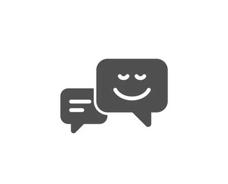 Message speech bubbles with Smile simple icon. Chat emotion sign. Quality design elements. Classic style. Vector illustration.