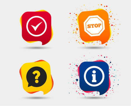 Information icons. Stop prohibition and question FAQ mark speech bubble signs. Approved check mark symbol. Speech bubbles or chat symbols. Colored elements. Vector illustration. Ilustrace