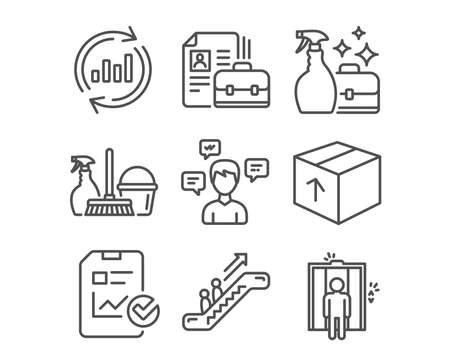 Set of Cleanser spray, Update data and Vacancy icons. Escalator, Household service and Report checklist signs. Package, Conversation messages and Elevator symbols. Vector