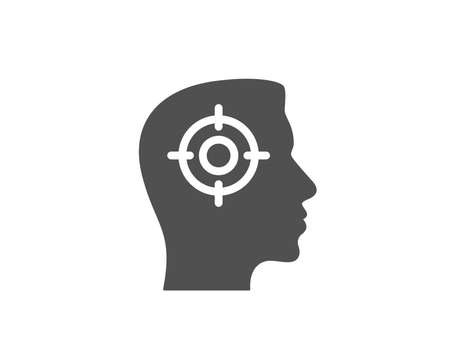 Silhouette mans head with target. Head hunting simple icon. Business target or Employment sign. Quality design elements. Classic style. Vector illustration.