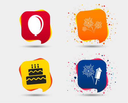 Birthday party icons. Cake and gift box signs. Air balloon and fireworks symbol. Speech bubbles or chat symbols. Colored elements. Vector