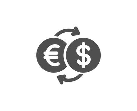 Money exchange simple icon. Banking currency sign. Euro and Dollar Cash transfer symbol. Quality design elements. Classic style. Vector 向量圖像