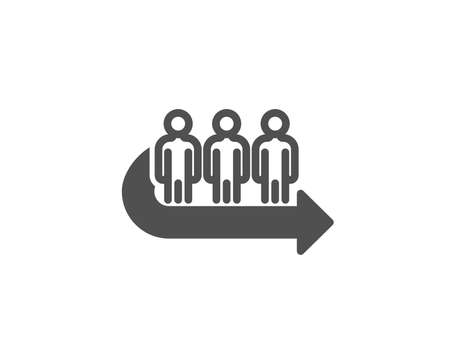 Queue simple icon. People waiting sign. Direction arrow symbol. Quality design elements. Classic style. Vector