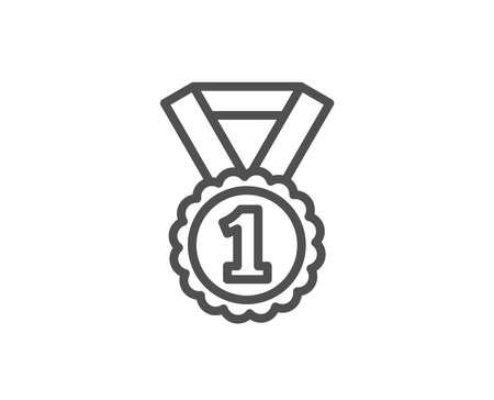 Reward Medal line icon. Winner achievement or Award symbol. Glory or Honor sign. Quality design element. Editable stroke. Vector Illustration