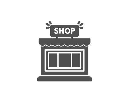 Shop simple icon. Store symbol. Shopping building sign. Quality design elements. Classic style. Vector illustration.