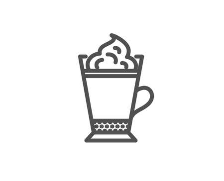 Latte coffee with whipped cream icon. Hot drink sign. Beverage symbol. Quality design element. Editable stroke. Vector illustration.