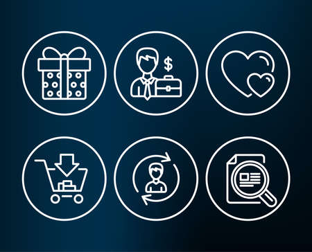 Set of businessman case, shopping and hearts icons. Human resources, gift box and check article signs. Human resources, add to cart, romantic relationships. Vector illustration.
