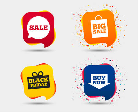 Sale speech bubble icons. Buy now arrow symbols. Black Friday gift box signs. Big sale shopping bag. Speech bubbles or chat symbols. Colored elements. Vector illustration.