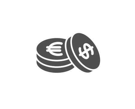 Coins money simple icon. Banking currency sign. Euro and Dollar Cash symbols. Quality design elements. Classic style. Vector illustration.