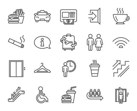 Public services line icons. Set of elevator, cloakroom and taxi signs. Exit, ATM and escalator symbols. Wifi, lift and restaurant food. Information, coffee and smoking. Quality design elements.