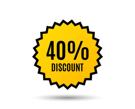 40% Discount. Sale offer price sign. Special offer symbol. Star button. Graphic design element. Vector illustration.