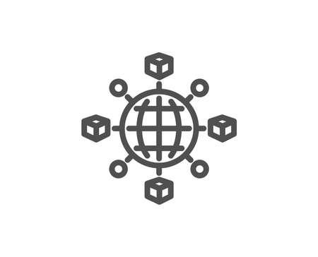 Logistics network line icon. Parcel tracking sign. Goods distribution symbol. Quality design element. Editable stroke. Vector illustration. Illustration