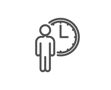 Person waiting line icon. Service time sign. Clock symbol. Quality design element. Editable stroke. Vector illustration.