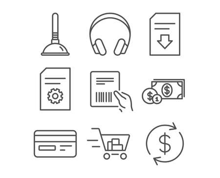 Set of shopping cart, Credit card and dollar money icons. Plunger, file settings and download file signs. Headphones, parcel invoice and Usd exchange symbols. Vector illustration.