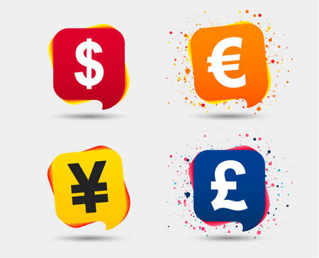 Dollar, euro, pound and yen currency icons. USD, EUR, GBP and JPY money sign symbols. Speech bubbles or chat symbols. Colored elements. Vector illustration.